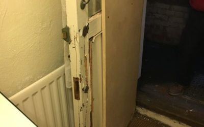 BURGLARY DAMAGE TO FRONT DOOR AND HALL