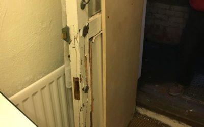 BURGLARY DAMAGE TO FRONT DOOR AND HALL